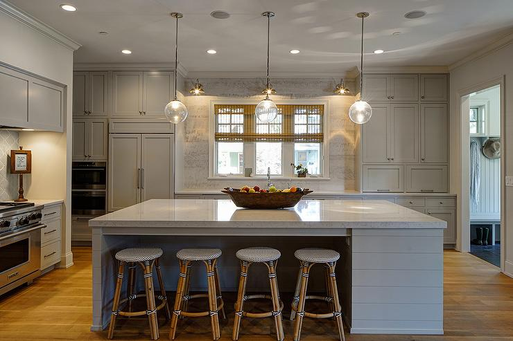 Gray Shiplap Kitchen Island With Backless French Bistro