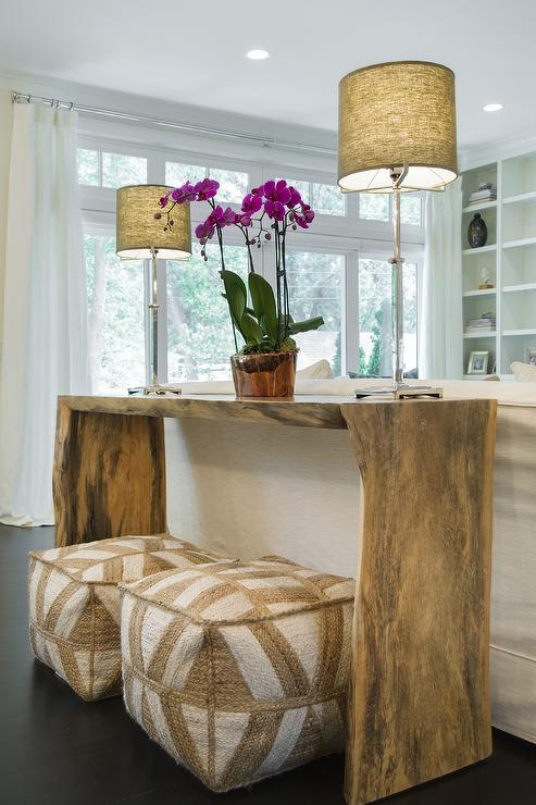 Live Edge Console Table With Beige Poufs