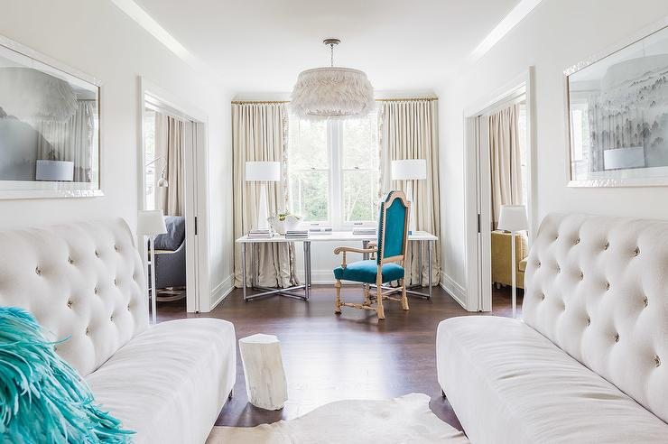 Alyssa Rosenheck   Symphony Showhouse   Pass Through Office Features A  White Feathers Chandelier Illuminating A Desk Topped With White Alabaster  Lamps ...