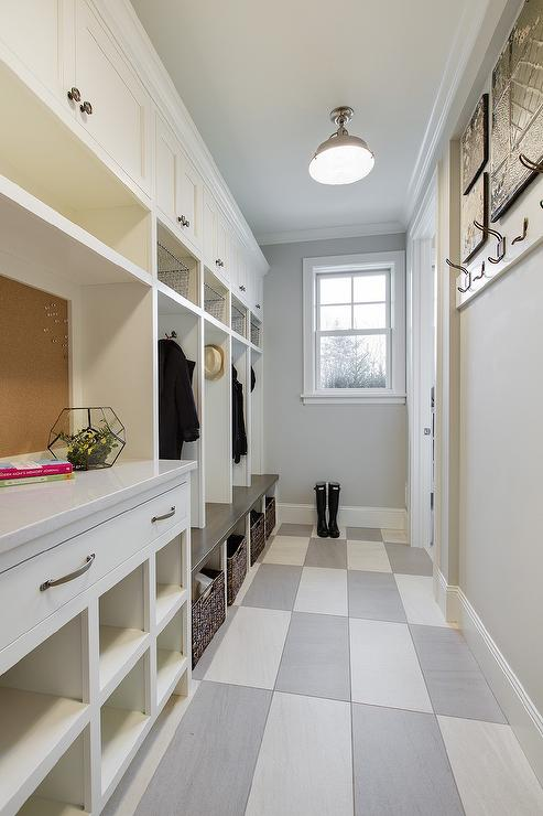 Long mudroom with checkered floors cottage laundry room for Mudroom floors