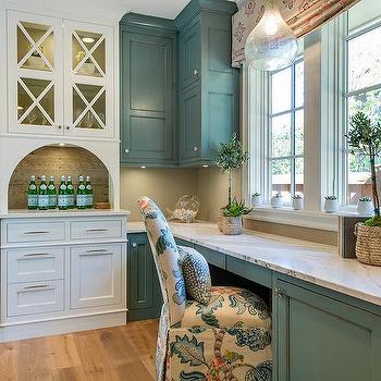 Blue Distressed Cabinets With Gray Herringbone Tile