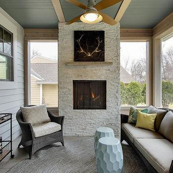 sunroom with fireplace. Sunroom with Blue Beadboard Ceiling Yellow And Design Ideas