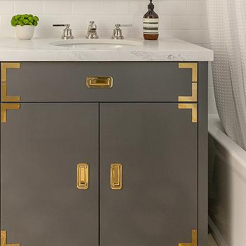 Marvelous Gold And Gray Campaign Vanity With Gold Hardware