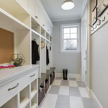 Shiplap Mudroom With Built In Bench And Brass Sconces