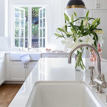 White porcelain kitchen sink design ideas white porcelain island sink with hicks pendant workwithnaturefo