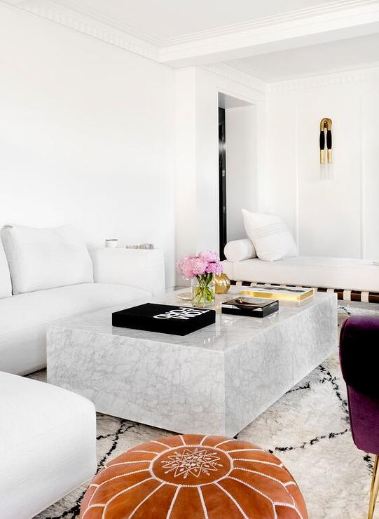 White Modern Sectional With Marble Block Cocktail Table Contemporary Living Room
