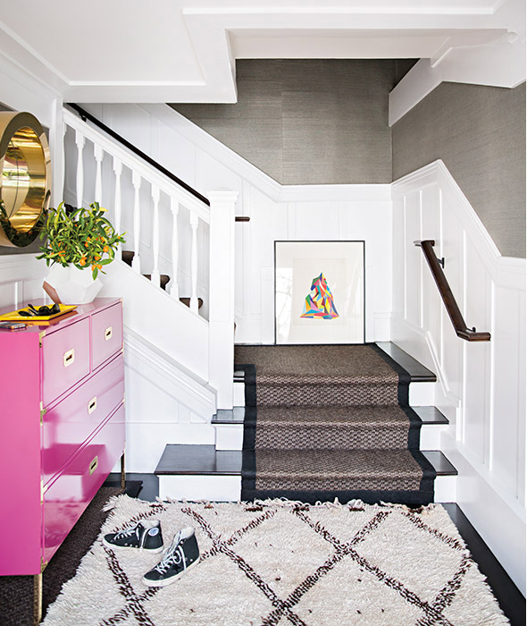 Pink And Gray Foyer With Pink Campaign Dresser