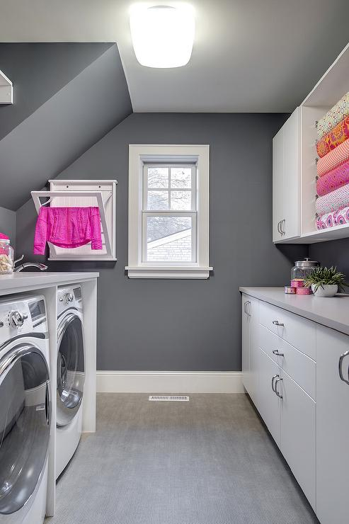 Pink And Gray Laundry Room Design
