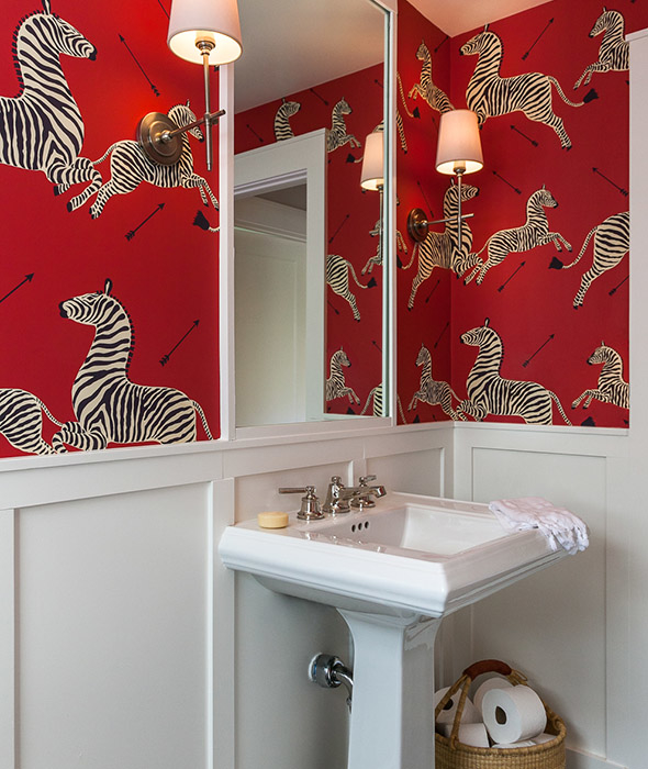 White And Red Powder Room With Scalamandre Zebra Wallpaper