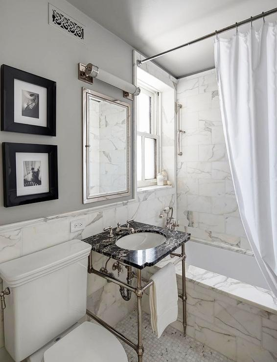 White And Black Marble Bathroom Design