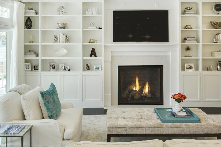 Gray shelves in white living room built in design ideas Built in shelves living room