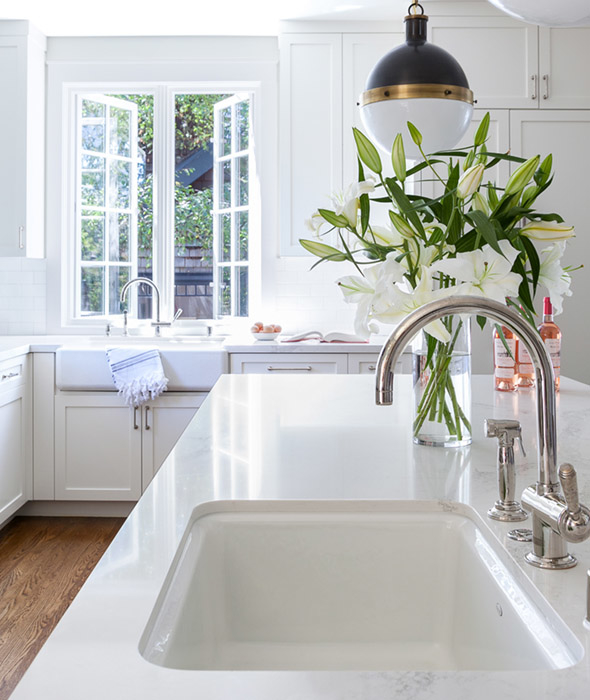 White Porcelain Island Sink with Hicks Pendant - Transitional ...