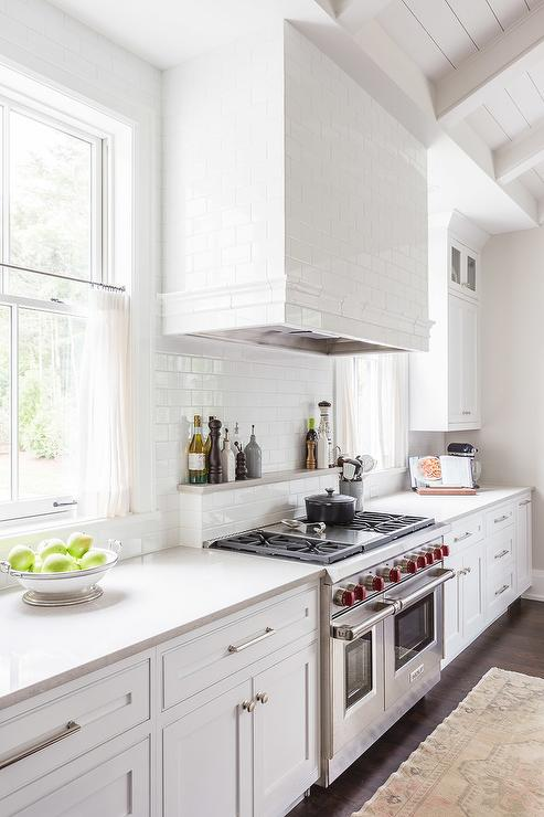 White Kitchen Hood kitchen hood flankedwindows design ideas