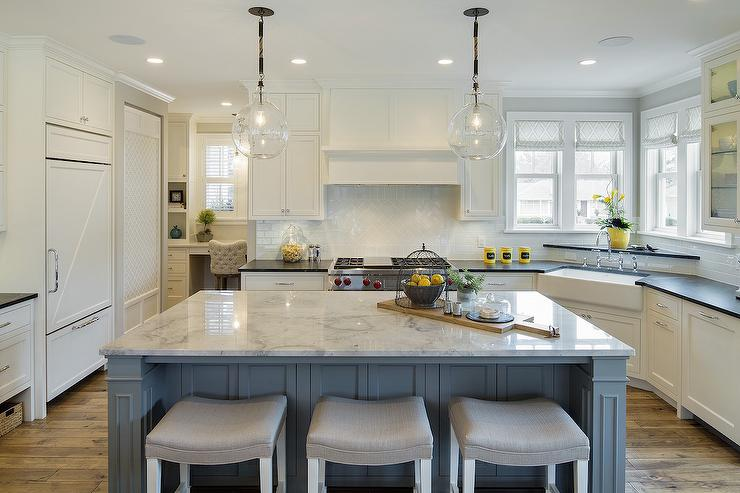 White and blue kitchen with gray accents transitional for Grey blue white kitchen