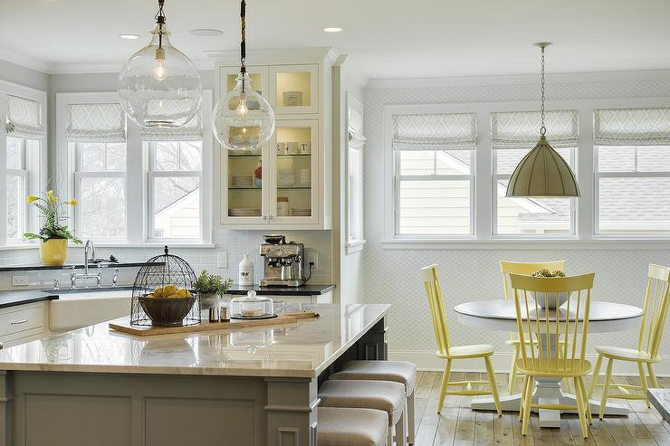 Yellow Dining Chairs With Gray Pendant