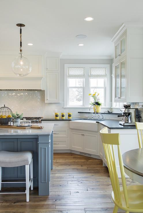 Gray Kitchen With Yellow Chairs