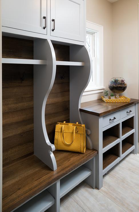 Yellow and gray mudroom with curved lockers contemporary for Open lockers for mudroom