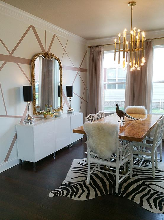 Jonathan Adler Bond Dining Table With Zebra Cowhide Rug