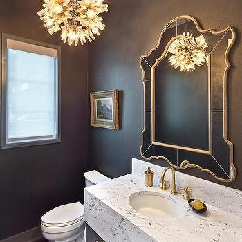powder room sink faucets. Gray and Gold Powder Room with Marble Vanity Brushed Sink Faucet Design Ideas