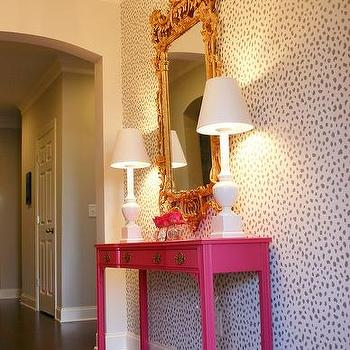 Stenciled Foyer Wall With Hot Pink Console Table Contemporary Entrance Foyer