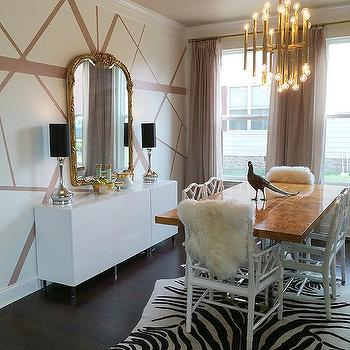 White and taupe dining room with white bamboo dining for Taupe wallpaper living room