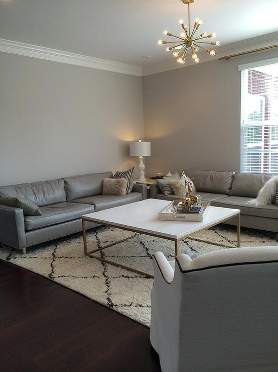 Gray Living Room Walls With Gray Leather Sofas