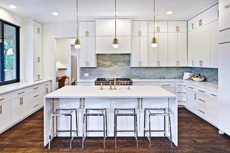 ... Kitchen With CB2 Vapor Acrylic Bar Stools View Full Size
