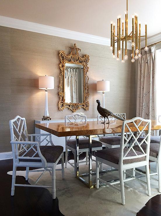 white and gray dining room with grasscloth wallpaper