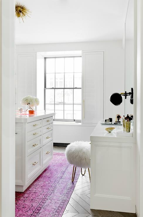 White walk in closet with pink overdyed rug contemporary for Walk in closet white