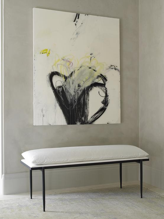 Black and White Bench with Yellow and Black Abstract Art ...