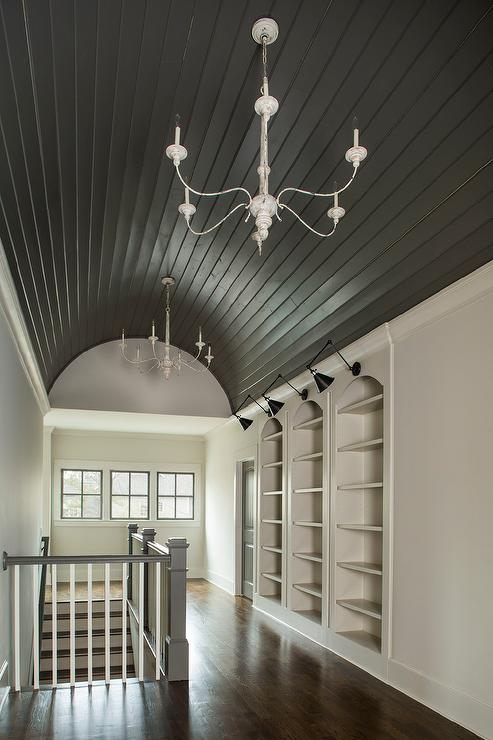 Black barrel hallway ceiling with shiplap trim cottage for Barrel ceiling ideas