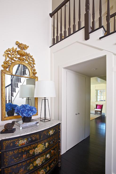 Gold Foyer Mirror : French black and gold chest with gilt ornate mirror