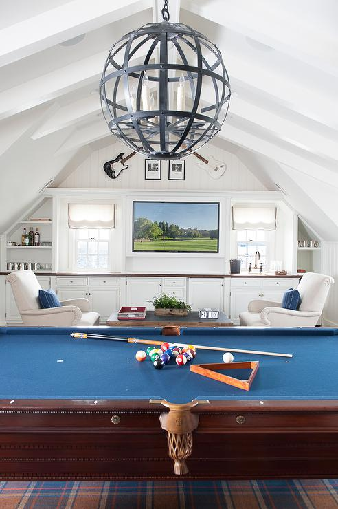 Game Room With Vaulted Ceiling Transitional Media Room