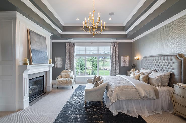Gray Bedroom With Tray Ceiling Transitional Bedroom