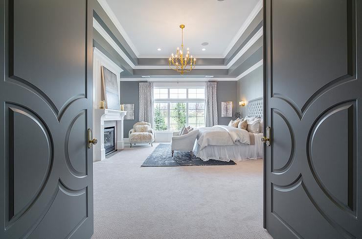 Gray Double Bedroom Doors with Paneling. Gray Double Bedroom Doors with Paneling   Transitional   Bedroom