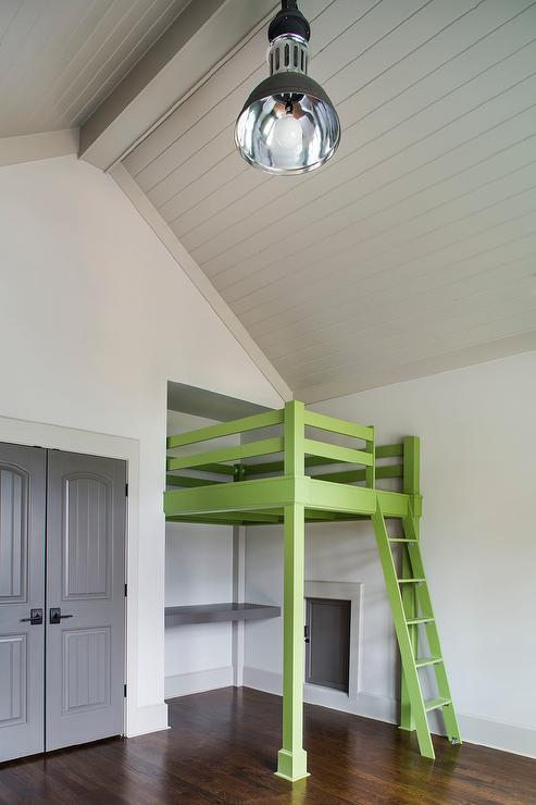 Green Loft Bed With Ladder Cottage Boy S Room