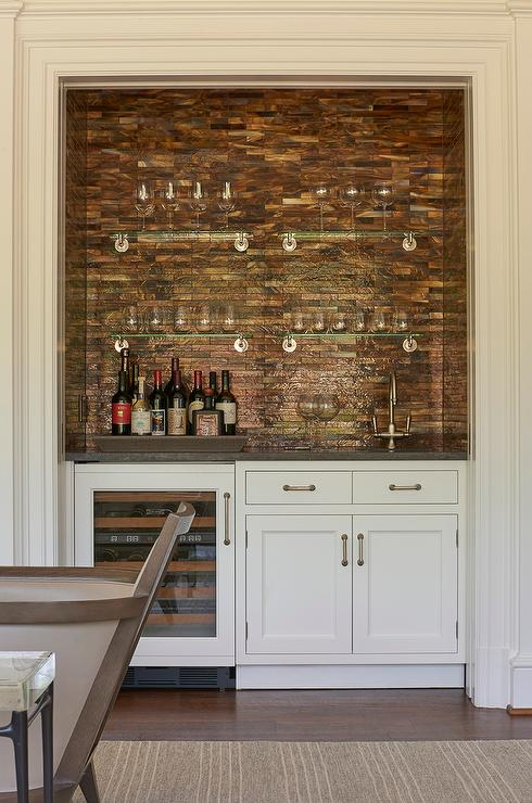 Living Room Wet Bar Nook With Copper Mosaic Tile