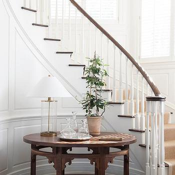 Shiplap Staircase Walls With Beige Bound Sisal Runner