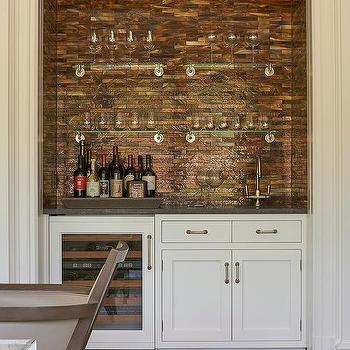 Living Room Wet Bar Nook With Copper Mosaic Tile Backsplash