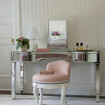 Mirrored Vanity With Pink Stool