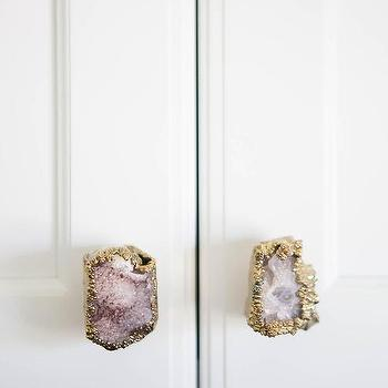 Laundry Room Cabinets With Purple Quartz Knobs