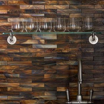 Wet Bar with Shimmery Coppery Tiles Backsplash