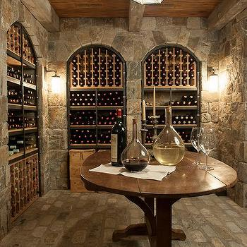 Basement Wine Cellar with Arched Wine Racks