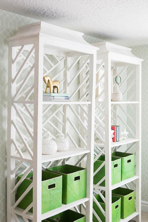 White Chinoiserie Bookcase With Green Bins Transitional
