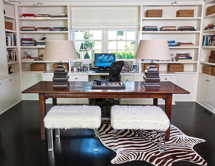 home office with two desks - transitional - den/library/office