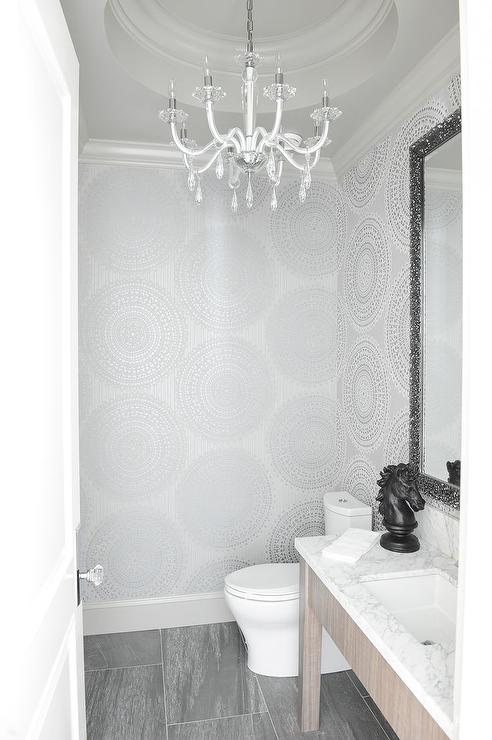 Silver Powder Room With Round Tray Ceiling Transitional