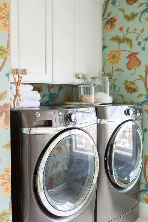 Laundry Room With Thibaut Baron Wallpaper