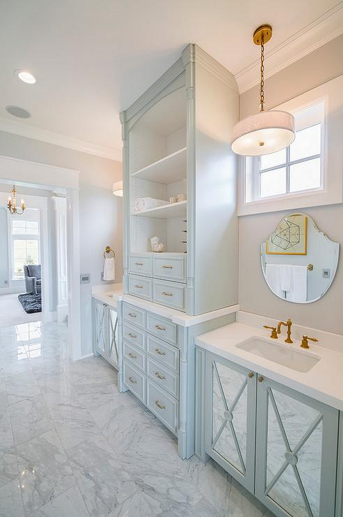 Turquoise Blue Bathroom Vanity With Mirrored Doors