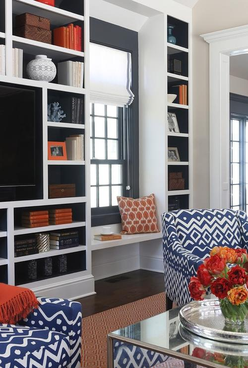View Full Size Blue And Orange Living Room