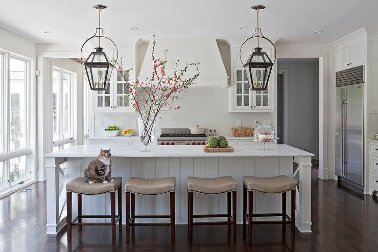 White Kitchen With Taupe Leather Counter Stools